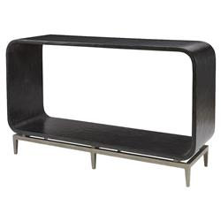 Mr. Brown Wilhelm Modern Ebony Smooth Silver Rounded Console Table