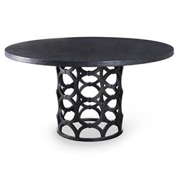 Mr. Brown Wolfgang Modern Graphite Gesso Ring Pedestal Dining Table - 72D