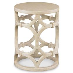 Mr. Brown Wolfgang Modern Ivory Gesso Ring Column End Table