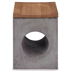 Mr. Brown Bilbao Industrial Loft Grey Stone Oak Square Outdoor Stool