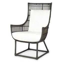 Palecek Verona Modern Classic Faux Wicker Espresso Outdoor Lounge Chair - Salt