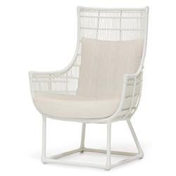 Palecek Verona Modern Classic Faux Wicker Outdoor Lounge Chair - Cream Finish - Natural Sand