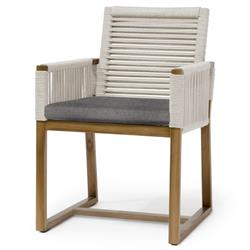 Palecek San Martin Coastal Beach Grey Sand Rope Wrapped Outdoor Arm Chair