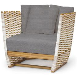 Palecek San Martin Modern Classic Grey Sand Rope Wrapped Outdoor Lounge Chair