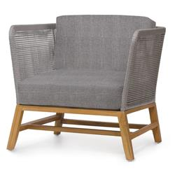Palecek Avila Modern Grey Rope Woven Teak Outdoor Lounge Chair - Grey Sand
