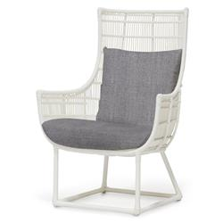 Palecek Verona Modern Classic Faux Wicker Outdoor Lounge Chair - Grey Sand