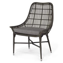 Palecek Lucca Modern Classic Espresso Outdoor Chair - Grey Sand