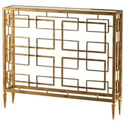 Audrey Hollywood Regency Gold Square Iron Console Table