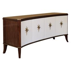 Atticus Mid Century White Brown Curved Media Cabinet