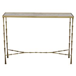 Aruba Hollywood Regency Brass Plated Iron Spike Marble Console