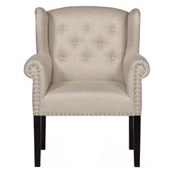 Chandra Hollywood Regency Grey Beige Tuft Curl Armchair