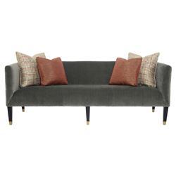 Catori Classic Grey Velvet Stripe Mod Sofa