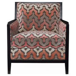 Pandora Modern Classic Coral Grey Pattern Armchair