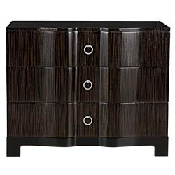 Fidello Hollywood Regency Ebony Strie Polished Dresser