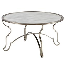 Francique Regency Silver Antique Glass Steel Trellis Coffee Table