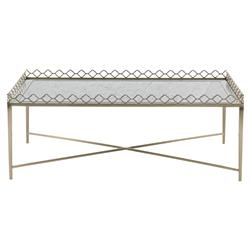 Michaela French Country Inset Eglomise Glass Top Steel Rectangular Coffee Table