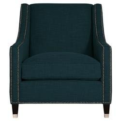Emmeline Hollywood Regency Nickel Navy Blue Arm Chair