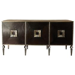 Cary Hollywood Regency Brown Wood Iron Media Cabinet