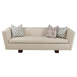 Maeve Hollywood Regency Beige Linen Woven Sofa