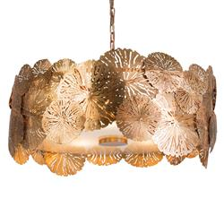 Ipanema Coastal Beach Brass Lily Pad Pendant Light