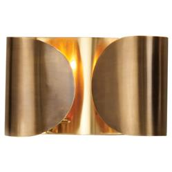 Gabriela Hollywood Regency Golden Brass Hardwired Folded Sconce