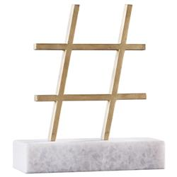 Kimberly Modern Classic Gold Leaf Finish Iron 'Hashtag' Symbol