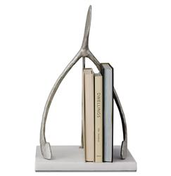 Hopeful Double Silver Wishbone Global Bazaar White Marble Base Sculpture