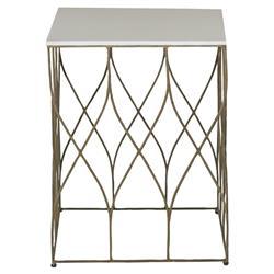 Ada Modern Deco Bone Brass End Table