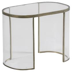 Angelise Modern Acrylic Brass Oval End Table