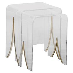 Channing Modern Lucite Waterfall Brass Nesting Table - Pair