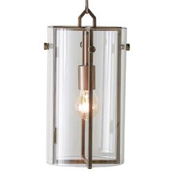 Bixby Modern Loft Glass Column Brass Pendant