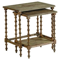 Tripoli Rustic Lodge Turned Oak Nesting End Tables