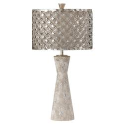 Rossi Modern Ivory Silver Leaf Shade Table Lamp