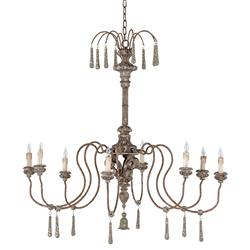 Armand French Country Grey Wood Finial Chandelier