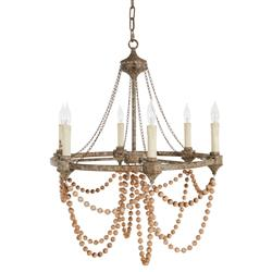 Auvergne French Country Rustic Iron White Bead Chandelier