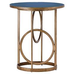 Cason Hollywood Gold Interlock Blue Seagrass End Table