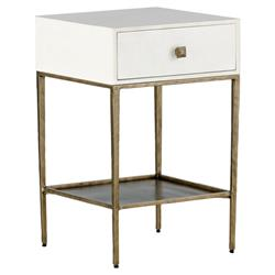 Nyla Modern Faux Bone Brushed Brass Nightstand