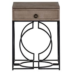 Bridger Industrial Loft Grey Wood Black Metal End Table
