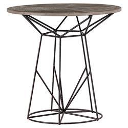 Justus Industrial Wire Frame Oak Bistro Table