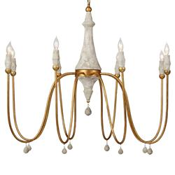 Dominique French Rustic Vintage Gold Column Chandelier