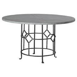 Gianni Industrial Floral Iron Oak Round Dining Table