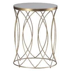 Audrina Regency Round Gold Marble End Table