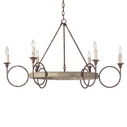 Tourteau French Country Iron Wood Circles Chandelier
