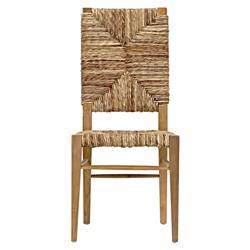 Nantucket Coastal Beach Seagrass Teak Dining Chair