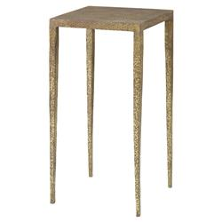 Mr. Brown Hawes Global Bazaar Slender Hammered Gold End Table