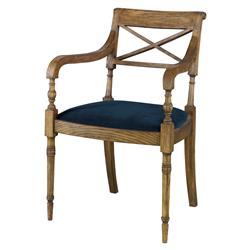 Mr. Brown Armathwaite French Rustic Oak Arm Chair - Harbor Blue Velvet