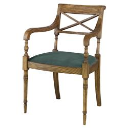 Mr. Brown Armathwaite French Rustic Oak Arm Chair - Silver Sage Velvet