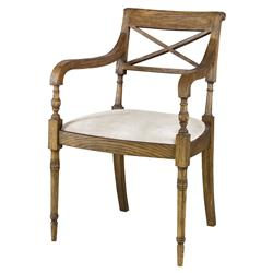 Mr. Brown Armathwaite French Rustic Oak Arm Chair - Snow White Velvet