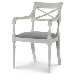 Mr. Brown Armathwaite French White Oak Arm Chair - Cannon Grey Velvet