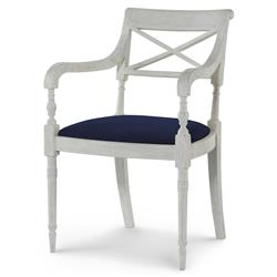 Mr. Brown Armathwaite French White Oak Arm Chair - Lapis Blue Velvet